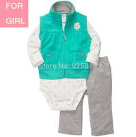 Carter Baby Girl Microfleece 3-piece Green Owl Vest Jacket Set Toddler Zip Clothing Suit Newborn-24m, In Store, YW
