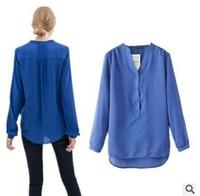 2014 Korean style Women's long sleeve chiffon blue loose blouse female shirt ladies high street fashion brands gown blouse zr