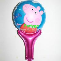 Wholesale 50pcs/lot 30*50cm shape peppa pig balloon kids peppa pig stick balloon festa peppa pig party decorations foil balloon