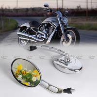 2pcs New 10mm Universal Motorcycle Chrome Rearview Oval For Honda Kawasaki Suzuki Yamaha Harley  MP025