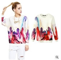 Ladies 2014 autumn Korean style air layer mirage printing loose hoodies neleton masculino women's tracksuits plain sweatshirt
