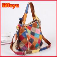 K627 2014 Fashion Cow Leather Women Messenger Bag,Elegant Plaid Women Leather Handbags