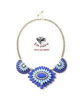 XL98 SUMNI lotus flower petals Blue   yan deeply red sparkle short necklace