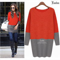 Lanluu Elegant Style Europe Winter & Autumn Long Sleeve Knit Dress 2014 Women Cotton Dress SQ829