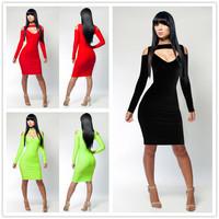 R7830  Price promotions 3 color low neck  2014 women dresses recommend dress party evening elegant women clothing  club dresses