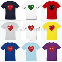 2014 New Fashion NWT COMME Des GARCONS Shirt Men Tshirt Heart-shaped T-shirt cdg Player T Shirt