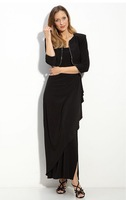 2014 Mother Dresses Sheath Floor Length Black Chiffon Pleated Plus Size Mother Of the Bride Dresses With Jacket