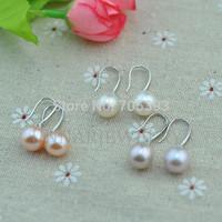 10mm whie 925 sterling silver hook freshwater culture pearl earrings wedding jewelry dropwater big pearl earrings