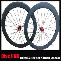 3k finish 23mm width carbon road disc brake wheelset Disc Brake hub 60mm clincher carbon bicycle wheel free 1 year warranty