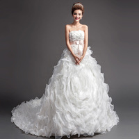 2014 BEST THE ANGEL WEDDING DRESS,new arrival Luxurious lace sexy tube top bride flower strap big train wedding dress A889#