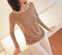 2014 autumn milk silk female long-sleeve t-shirt plus size loose solid color medium-long basic shirt female