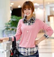 2014 New In Fashion Women Autumn Blouses Elegant Fake Two Pieces Long Sleeves Korean Style Plaid Pattern Female Shirts Plus Size