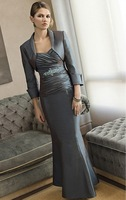 2014 Mother Dresses Mermaid Sweetheart Floor Length Gray Satin Beaded Mother Of the Bride Dresses With Jacket