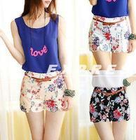 Hot Sale Retro Vintage Women Floral Elastic High Waist Pants Short Shorts Pants 6 colors