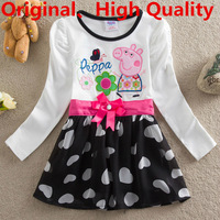 2014 New Peppa Pig Girls Clothes Pepa Pig Baby Casual Dress For 2T 3T 4T 5T 6T Children NF140