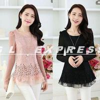 Hot Sale Hot Korean Fashion Women's Floral Chiffon Tops Long Sleeve Shirt Lace Blouse