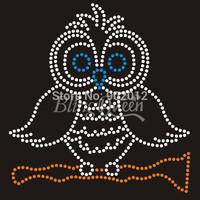 25PCS/LOT Hot Fix Iron On Rhinestone Transfers Blings Owl Design