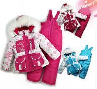 Free shipping!2014 Children's Winter Clothing Set Girl baby Ski Suit Windproof Flower Warm Coats Fur Jackets+Bib Pants+Wool Vest