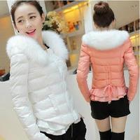 Fashion candy multicolour winter outerwear wadded jacket women's cotton-padded jacket design short cotton-padded jacket ruffle