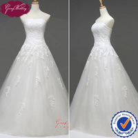Free Shipping Goingwedding Lace Top Tulle Skirt Sweetheart Neck Elegant A-Line Drop Waist Wedding Dress Gown 2014 NW0708