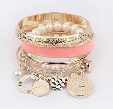 Fashion Jewelry New Hollow Tassel Bracelet Bangle for Women Coins Avatar Pearl Charm Bangle & Bracelet Wholesale 6 Color(China (Mainland))