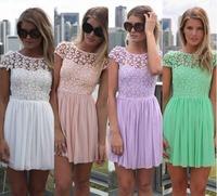 XS-XXL Plus Size 2014 New Fashion Womens Celeb Lace Chiffon Backless Pleated Party Evening Summer Beach Dress