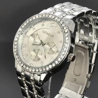 New GENEVA Diamond Crystal Silver Case Mens Anlaog Quartz Wrist Metal Band Watch W045