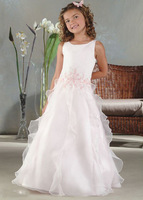 low price new in stock sleeveless floor length cute white and pink cheap flower firl dresses under 50
