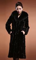 2014 new Fashion women plus long faux mink fur overcoat mink hair large fur collar plus size 6Xl customized WTP2