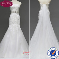 Goingwedding Strapless Lace Top Tulle Skirt Beaded Belt Mermaid Wedding Dress 2014 Detachable Train Lace Up Back NW0715