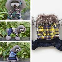 (Blue&Yellow&Green)Fashion England Style Belt Trim Dog Coat Warm Fur Collar Design Pet Jumpsuit Winter Dog Clothing Supply