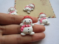 Free Shipping! Min. order is $10 (mix order), Snowman with Red Hat, Resin Cabochons for Hair Bow Center  (22*31mm)