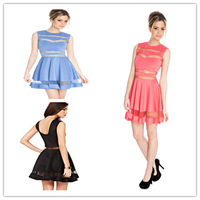2014 New arrival Women Pleated Midi dress Lace Patchwork Blue Sexy One-piece Skirt Backless Clubwear Free shipping