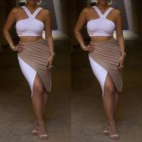 2014 New Women Summer Irregular Bodycon Bandage Dresses 2 Pieces Outfit Vintage Geometric Party Asymmetrical Draped Maxi Dress