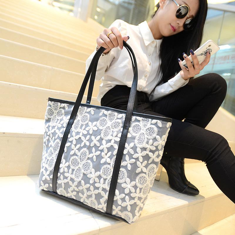 2014 spring large bag exquisite lace bag flower tote bag messenger bag fashion women's handbag(China (Mainland))