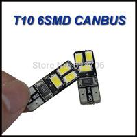 Free shipping 10PCS/lot Car Auto LED T10 194 W5W Canbus 6 smd 5630 5730 LED Light Bulb No error led light