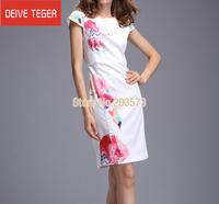 (DEIVE TEGER)Free Shipping 2014 short sleeve print   OL lady Pencil  evening dress summer dress white  DT3698