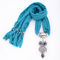 5 Colors free shipping Brand designer Fashion high quality rhinestone Retro metal Owl scarf jewelry women Accessories 2014 PT35