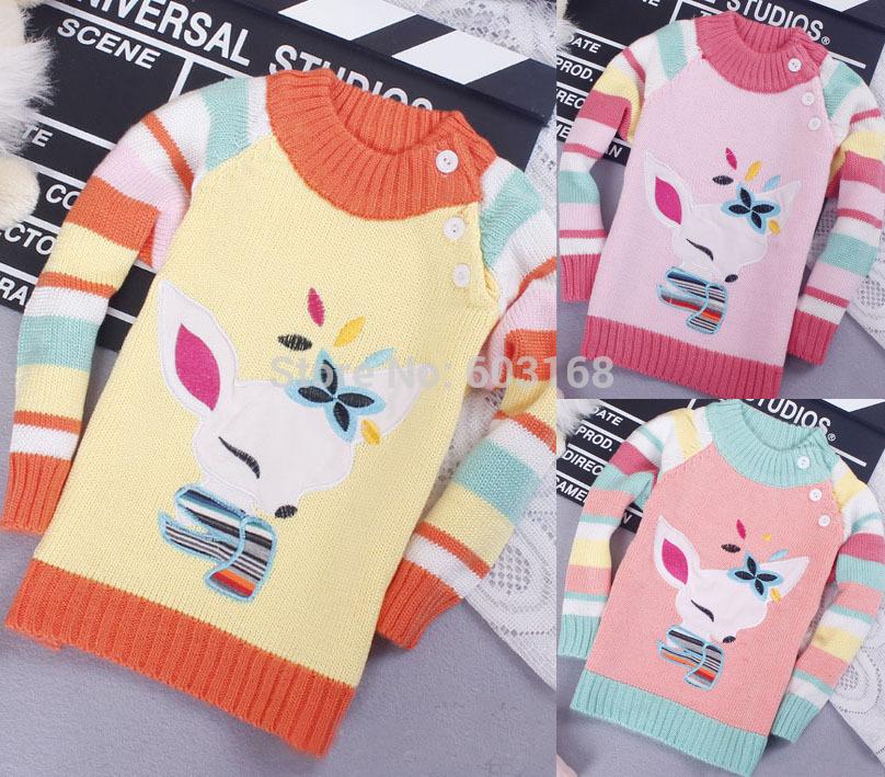 2014 Fox Style Cotton Baby Sweater Kids Girl's Sweater (3Pcs/lot)Children Wear Sweater Free Shipping {iso-14-8-19-A5}(China (Mainland))