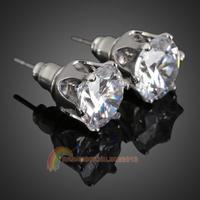 R1B1 Glittering Crystal Earrings Lady Ear Stud Zircon Jewelry Silver Plated