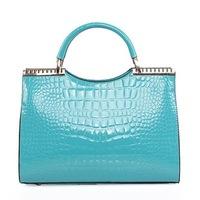 2014 fashion women's shoulder bag crocodile pattern japanned leather patent leather handbag female OL bags CL0010