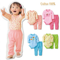 Baby rompers long sleeve cotton baby infant cartoon  newborn baby clothes romper+pants 2pcs clothing set
