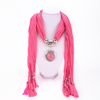 5 Colors free shipping Retro fashion plated Silver big black gem pendant scarf lady scarves life jewelry for women 2014 PT35