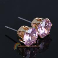 R1B1 Graceful Crystal Earrings Girl Ear Stud Zircon Jewelry Gold Plated