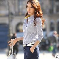 2014 autumn new female long-sleeved shirt collar shirt Slim was thin stripes