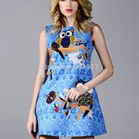 Quality 2014 Heavy Jacquard 3D painting New European Fashion Brand Blue Mini dress Tank Owl Print O-neck Dresses For Women