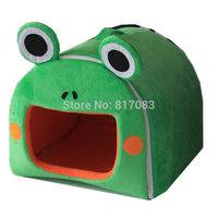 Free shipping pet warm bed house  fancy frog shape nest  washable sponge  A056