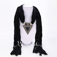 6 Style Free shipping Colors New fashion geometric triangle rhinestone gem beads pendant jewelry women Fringed scarves 2014 PT35