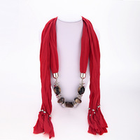 Free shipping New Design Bohemia Style Beads gem stones jewelry High quality lady tassel long scarves accessories 2014 PT35