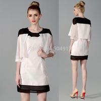 Fashion women zara2014 Women's dress + Vest European OL commuter Office Temperament dress Career Two piece chiffon dress
